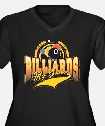 Billiards My Game Women's Plus Size V-Neck Dark T-