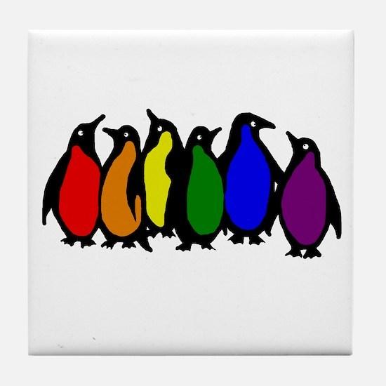 Rainbow Penguins Tile Coaster