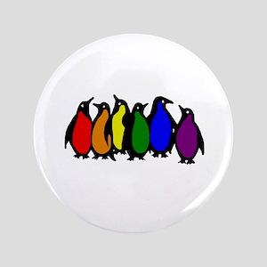 "Rainbow Penguins 3.5"" Button"