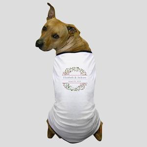 Floral Wreath Wedding Monogram Dog T-Shirt