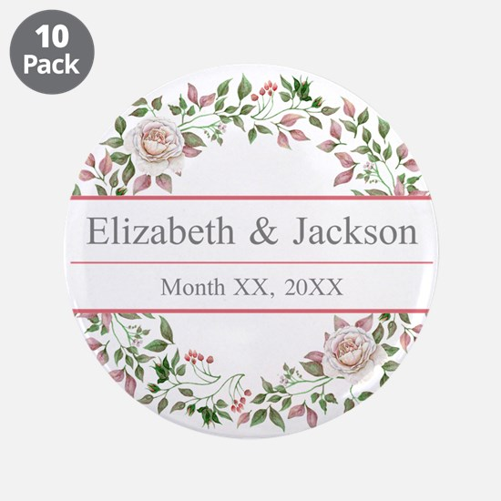 "Floral Wreath Wedding Monogram 3.5"" Button (10 pac"