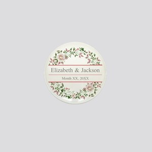 Floral Wreath Wedding Monogram Mini Button (10 pac