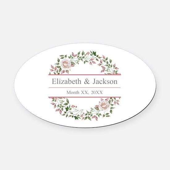 Floral Wreath Wedding Monogram Oval Car Magnet