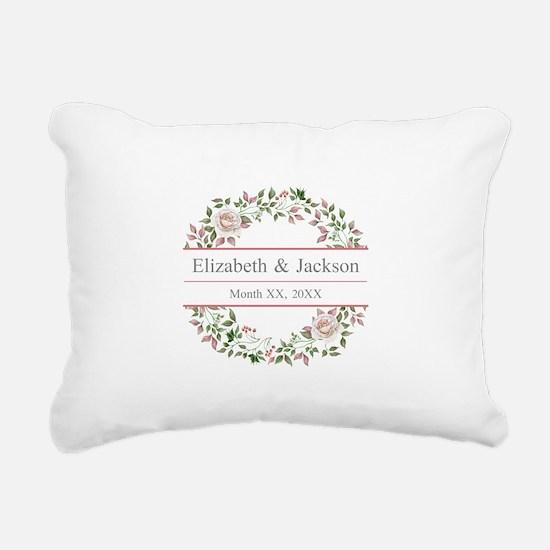 Floral Wreath Wedding Monogram Rectangular Canvas