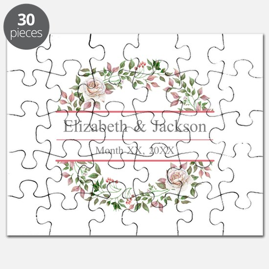 Floral Wreath Wedding Monogram Puzzle