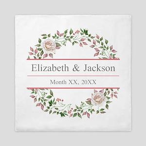 Floral Wreath Wedding Monogram Queen Duvet