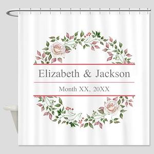 Floral Wreath Wedding Monogram Shower Curtain
