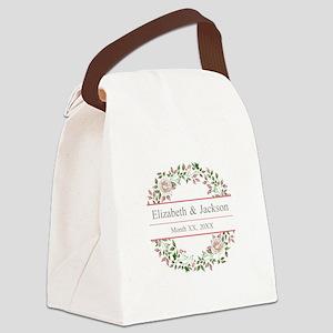 Floral Wreath Wedding Monogram Canvas Lunch Bag