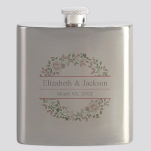 Floral Wreath Wedding Monogram Flask