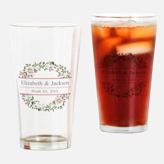 Floral Wreath Wedding Monogram Drinking Glass