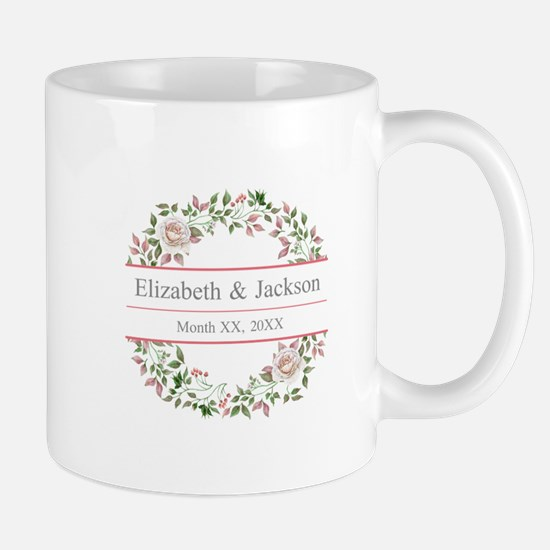 Floral Wreath Wedding Monogram Mugs