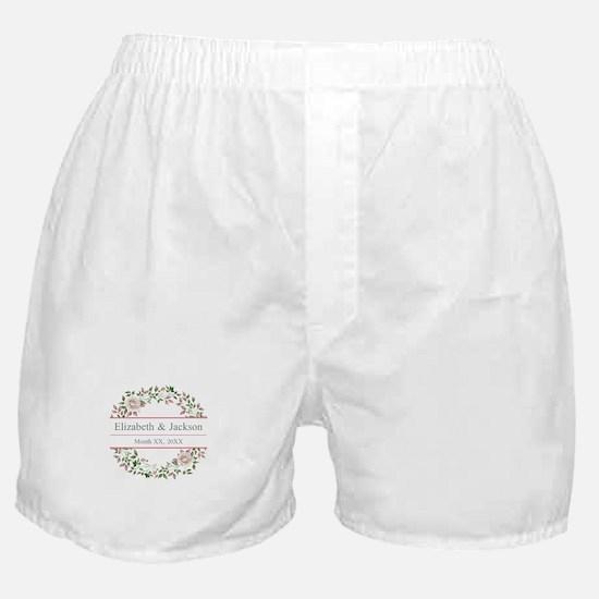 Floral Wreath Wedding Monogram Boxer Shorts