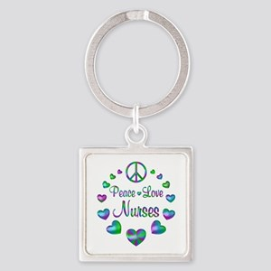 Peace Love Nurses Square Keychain
