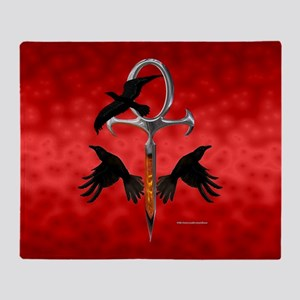 Crow Ankh Throw Blanket