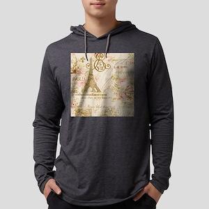 floral paris eiffel tower rose Long Sleeve T-Shirt