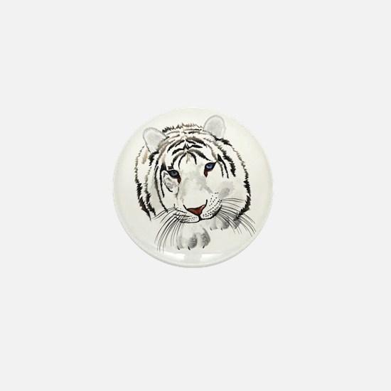 White Bengal Tiger Mini Button