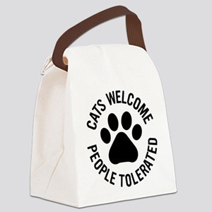 Cats Welcome People Tolerated Canvas Lunch Bag
