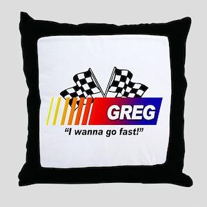 Racing - Greg Throw Pillow
