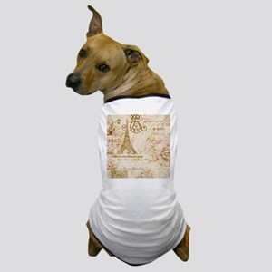 floral paris eiffel tower Dog T-Shirt