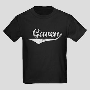 Gaven Vintage (Silver) Kids Dark T-Shirt