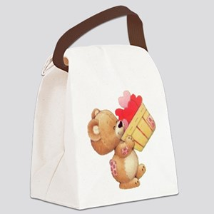 Valentine Bear And A Basket Of Hearts Canvas Lunch