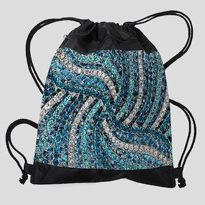 facb00ab04 bohemian swirls teal turquoise Drawstring Bag