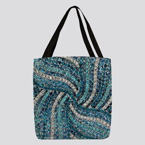 7dad75f59c bohemian swirls teal turquoise Polyester Tote Bag