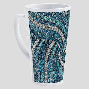bohemian swirls teal turquoise 17 oz Latte Mug