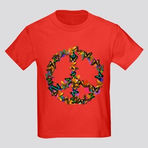 Butterflies Peace Sign Kids Dark T-Shirt
