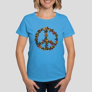 Butterflies Peace Sign Women's Dark T-Shirt
