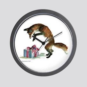 Fox and Present Wall Clock