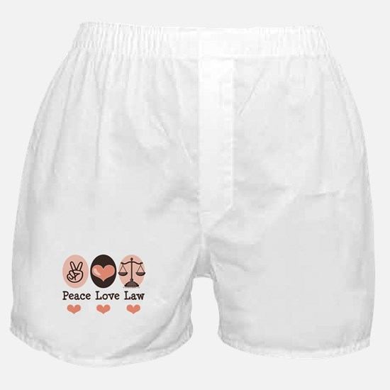 Peace Love Law School Lawyer Boxer Shorts