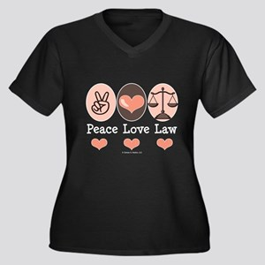 Peace Love Law School Lawyer Women's Plus Size V-N