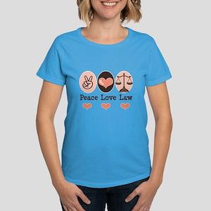 Peace Love Law School Lawyer Women's Dark T-Shirt