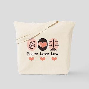 Peace Love Law School Lawyer Tote Bag