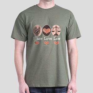 Peace Love Law School Lawyer Dark T-Shirt