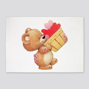 Valentine Bear And A Basket Of 5'x7'area R