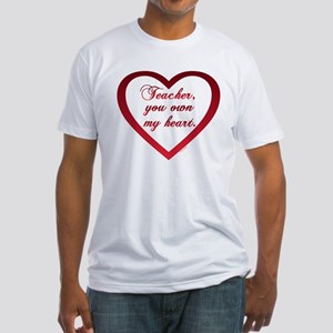 red-Teacher Owns My Heart Fitted Tee