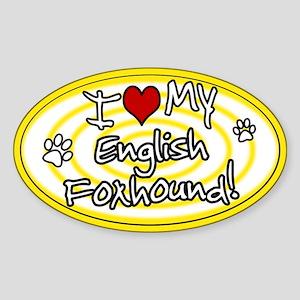 Hypno I Love My English Foxhound Sticker Ylw