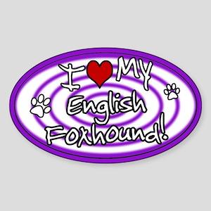 Hypno I Love My English Foxhound Sticker Purp
