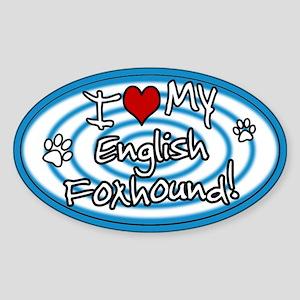 Hypno I Love My English Foxhound Sticker Blue