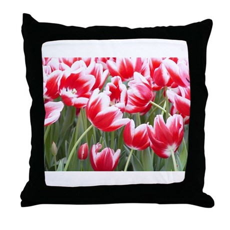 Red Tulips Photo Throw Pillow