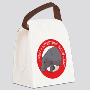 Hippo For Christmas Canvas Lunch Bag