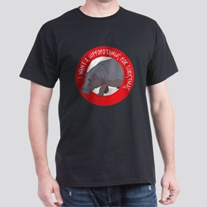Hippo For Christmas Dark T-Shirt