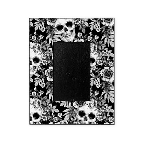 Skulls And Flowers Black Picture Frame