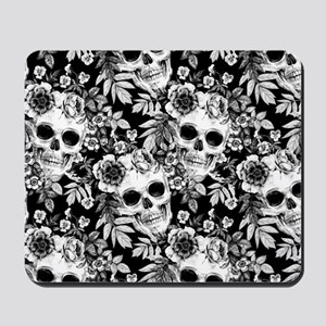 Skulls and Flowers Black Mousepad