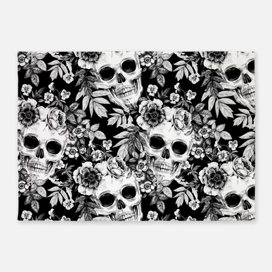 Skulls and Flowers Black 5'x7'Area Rug