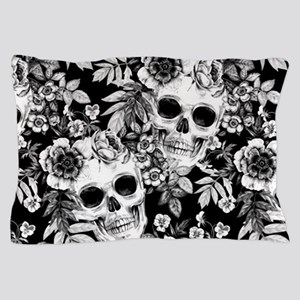 Skulls and Flowers Black Pillow Case