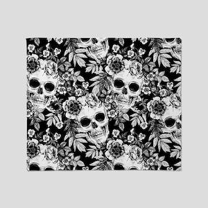 Skulls and Flowers Black Throw Blanket