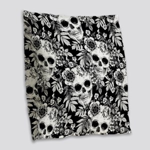Skulls and Flowers Black Burlap Throw Pillow